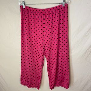 Jenni Intimates Pink w/ Black Hearts Pajama Bottom